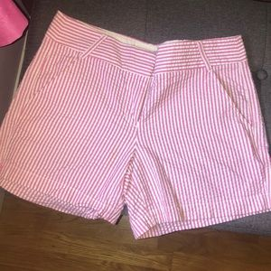 J crew city fit shorts seersucker light pink